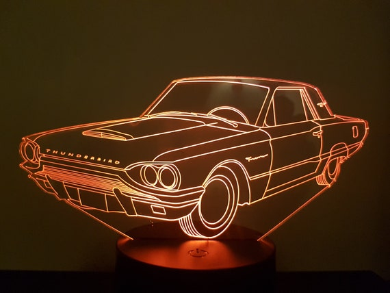 FORD THUNDERBIRD - Mood lamp 3D led, laser engraving on acrylic, power by USB cable or batteries