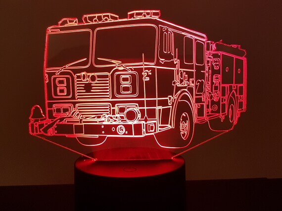 FIRE truck-American mood lamp 3D led, laser engraving on acrylic, power by USB cable or batteries