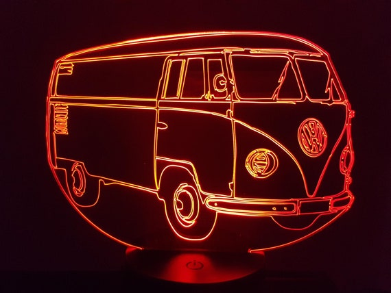 VOLKSWAGEN Tôlé VW T1 - Mood lamp 3D led, laser engraving on acrylic, power by USB cable or batteries