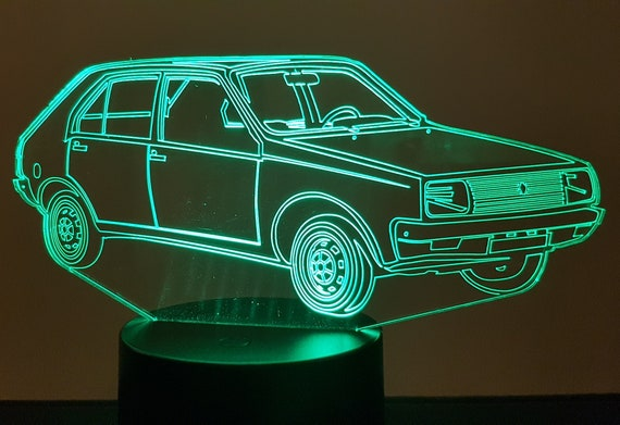 RENAULT R14 - Mood lamp 3D led, laser engraving on acrylic, power by USB cable or batteries