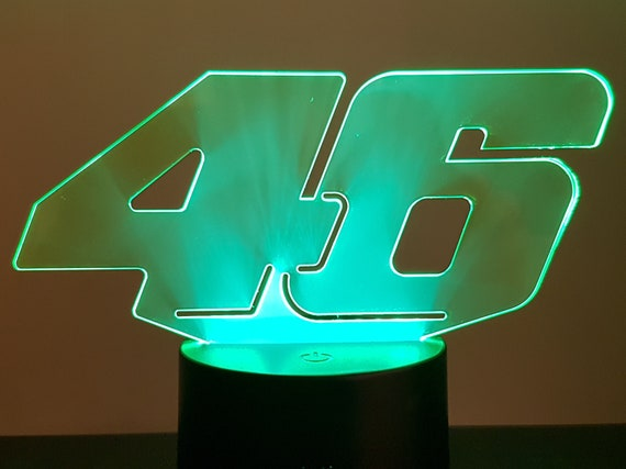 46 - Mood lamp 3D led, laser engraving on acrylic, usb cable or battery power.
