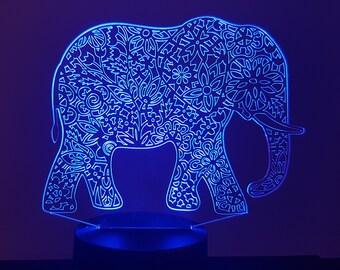 Lamp 3D design: Mandala elephant