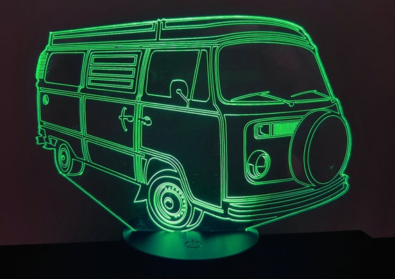 VOLKSWAGEN T2 VW Combi - Mood lamp 3D led, laser engraving on acrylic, power by USB cable or batteries