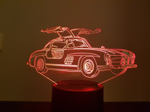 MERCEDES 300 SL - Mood lamp 3D led, laser engraving on acrylic, usb cable or battery power.