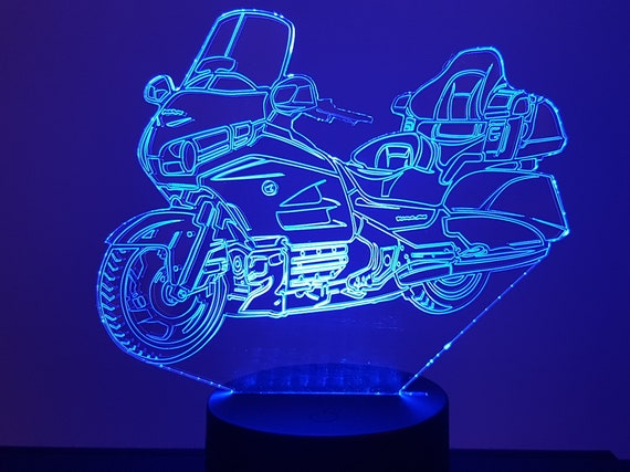 HONDA GOLDWING motorcycle - Mood lamp 3D led, laser engraving on acrylic, usb cable or battery power.