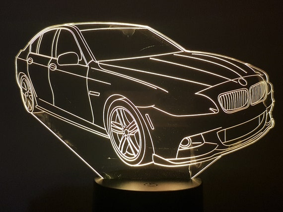 BMW 550i-led 3D ambient lamp, laser engraving on acrylic, battery power or USB cable