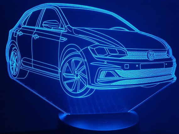 VW POLO GTI-led 3D ambient lamp, laser engraving on acrylic, battery power or USB cable