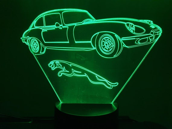 JAGUAR TYPE E - mood lamp 3D leds, acrylic, battery-powered laser engraving or USB cable