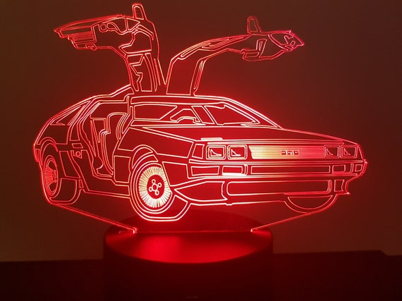 DELOREAN - Mood lamp 3D led, laser engraving on acrylic, power by USB cable or batteries