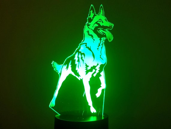 MALINOIS dog - Mood lamp 3D led, laser engraving on acrylic, power by USB cable or batteries