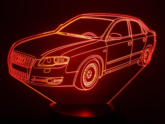 AUDI A5 (bis) - mood lamp 3D led, laser engraving on acrylic, usb cable or battery power.