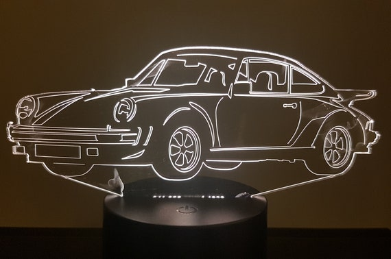 P. 911-930 coupe - 3D LED mood lamp, laser engraving on acrylic, battery power or USB cable