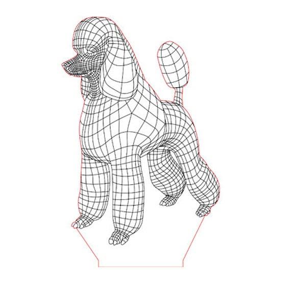 Lamp 3D pattern: poodle dog