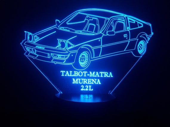 TALBOT MATRA MURENA 2.2 L - mood lamp 3D led, laser engraving on acrylic, usb cable or battery power.