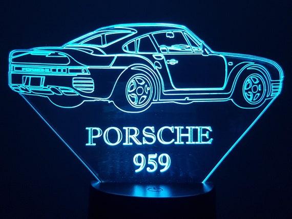PORSCHE  959 -  Lampe d'ambiance 3D à leds, gravure laser sur acrylique, alimentation par piles ou câble USB