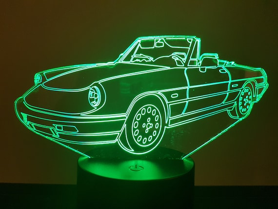 ALPHA ROMEO SPIDER - Mood lamp 3D led, laser engraving on acrylic, usb cable or battery power.