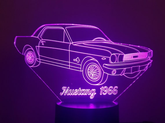 FORD MUSTANG 1966 - Mood lamp 3D led, laser engraving on acrylic, power by USB cable or batteries