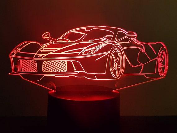 FERRARI FERRARI - mood lamp 3D led, laser engraving on acrylic, usb cable or battery power.