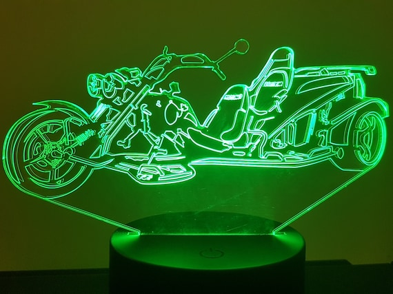 MOTORCYCLE TRIKE - Mood lamp 3D led, laser engraving on acrylic, usb cable or battery power.
