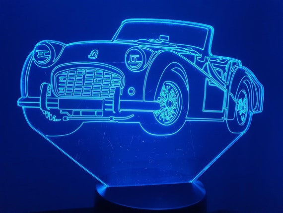 TRIUMPH TR3-led 3D ambient lamp, laser engraving on acrylic, battery power or USB cable