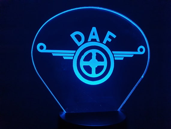DAF (L)-led 3D ambient lamp, laser engraving on acrylic, battery power or USB cable.