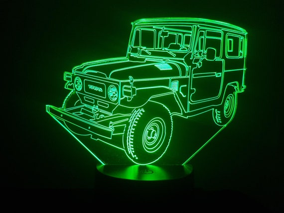 TOYOTA BJ 40 - Mood lamp 3D led, laser engraving on acrylic, usb cable or battery power.