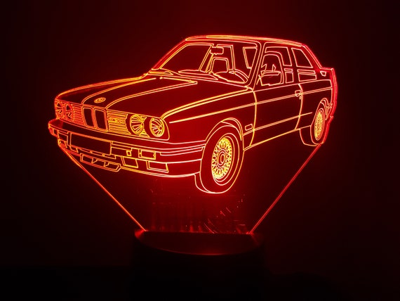 BMW M3 E30 - Mood lamp 3D led, laser engraving on acrylic, power by USB cable or batteries