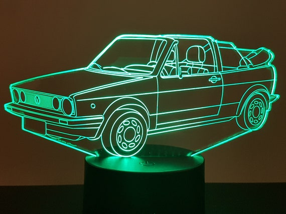 VOLKSWAGEN GOLF 1 Convertible VW - Mood lamp 3D led, laser engraving on acrylic, usb cable or battery power.