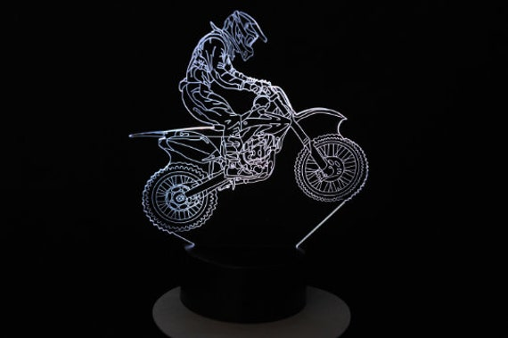 MOTOCROSS - Mood lamp 3D led, laser engraving on acrylic, usb cable or battery power.