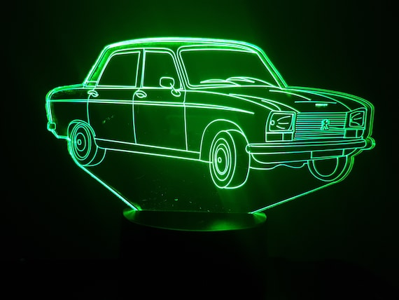 PEUGEOT 304 - Mood lamp 3D led, laser engraving on acrylic, usb cable or battery power.