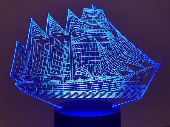 BOAT SAILBOAT - Mood lamp 3D led, laser engraving on acrylic, usb cable or battery power.