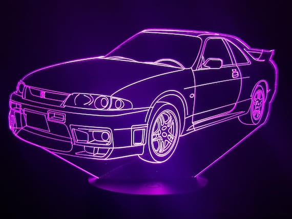 Nissan GTR 33 - Mood lamp 3D led, laser engraving on acrylic, power by USB cable or batteries