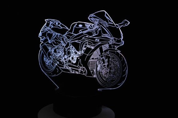 MOTORCYCLE sport - Mood lamp 3D led, laser engraving on acrylic, usb cable or battery power.