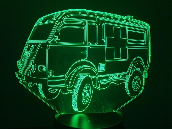 RENAULT schooner R2087 ambulance-led 3D ambient lamp, laser engraving on acrylic, battery power or USB cable