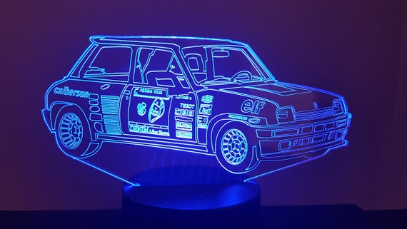 RENAULT R5 Turbo 2 mood lamp 3D led, laser engraving on acrylic, power by USB cable or batteries