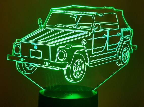 VOLKSWAGEN VW KUBELWAGEN 181 - Mood lamp 3D led, laser engraving on acrylic, usb cable or battery power.