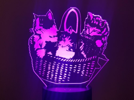 KITTENS - Mood lamp 3D led, laser engraving on acrylic, power by USB cable or batteries