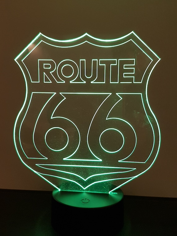 ROUTE 66 - Mood lamp 3D led, laser engraving on acrylic, usb cable or battery power.