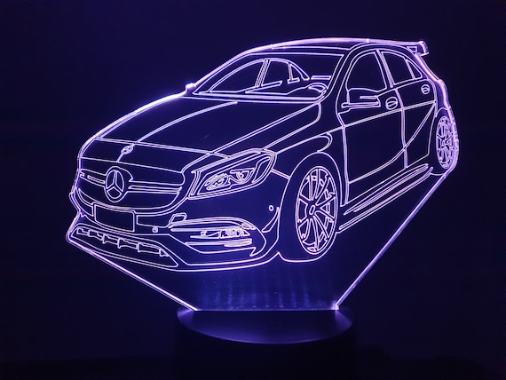 MERCEDES AMG A45-led 3D ambient lamp, laser engraving on acrylic, battery power or USB cable.