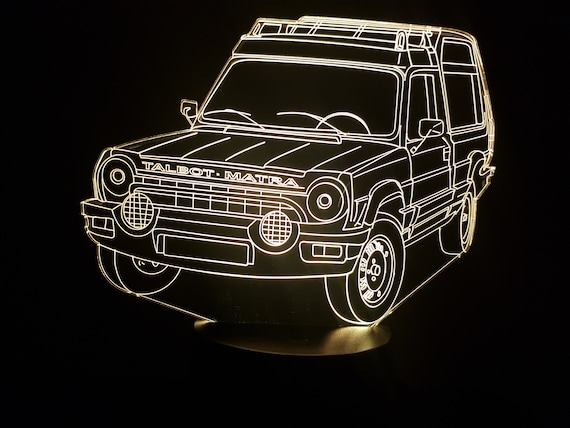 TALBOT MATRA RANCHO - mood lamp 3D led, laser engraving on acrylic, usb cable or battery power.