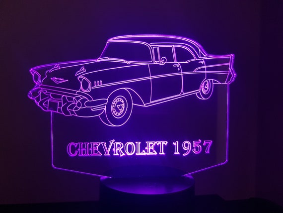 1957 CHEVROLET - Mood lamp 3D led, laser engraving on acrylic, usb cable or battery power.