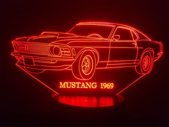 FORD MUSTANG 1969 - Mood lamp 3D led, laser engraving on acrylic, usb cable or battery power.
