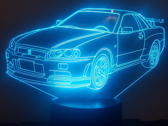 NISSAN GTR R34 compatible design - 3D LED ambient lamp, acrylic laser engraving, battery power or USB cable