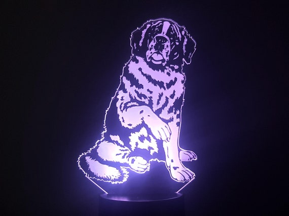 SAINT BERNARD dog - Mood lamp 3D led, laser engraving on acrylic, power by usb cable or batteries