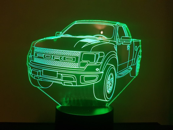 FORD RAPTOR - Mood lamp 3D led, laser engraving on acrylic, power by USB cable or batteries