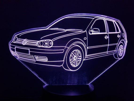 VOLKSWAGEN VW GOLF 4 - Mood lamp 3D led, laser engraving on acrylic, usb cable or battery power.