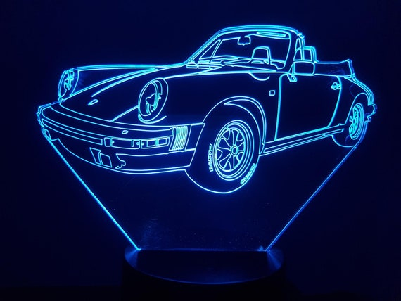 P. 911 convertible - 3D LED ambient lamp, laser engraving on acrylic, battery power or USB cable