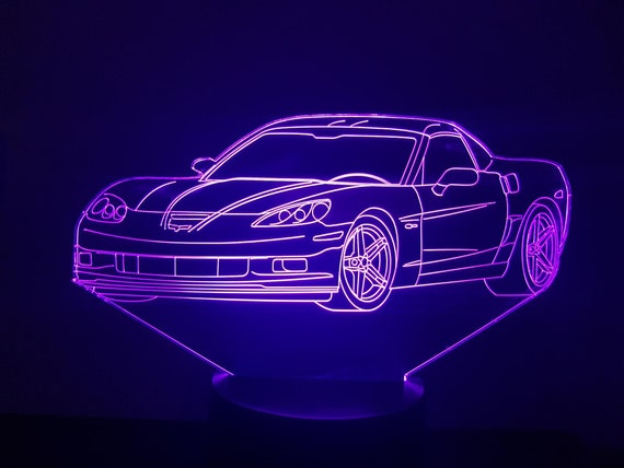 CHEVROLET CORVETTE C6 - Mood lamp 3D led, laser engraving on acrylic, power by USB cable or batteries