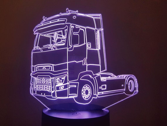 TRUCK RENAULT T - mood lamp 3D led laser engraving on acrylic, power by USB cable or batteries