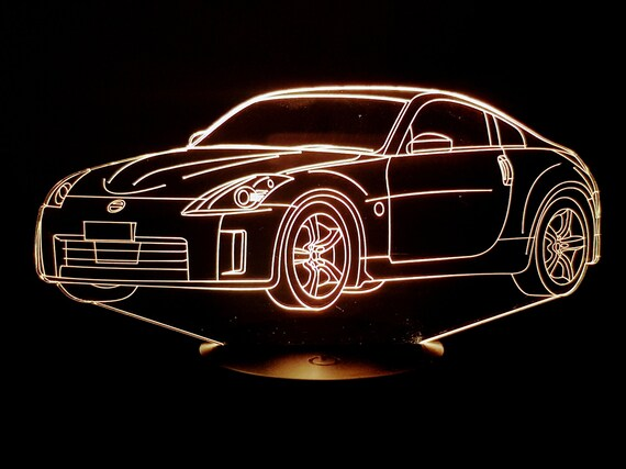 NISSAN 350Z - mood lamp 3D led, laser engraving on acrylic, usb cable or battery power.